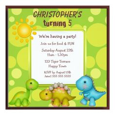 Cute Dinosaurs Birthday Party Announcement