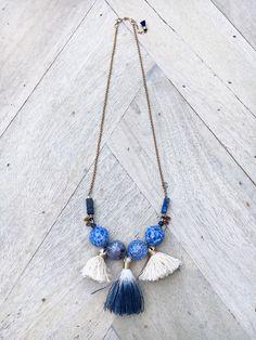 NONA // LAPIS LAZULI & TASSEL NECKLACE $115.00 Blue Agate AA Lapis Lazuli Handmade Tassels Durable Gold Filled Clasp 1″ Extender Chain