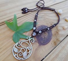 Crystal Quartz macrame necklace metalwork jewelry by SelinofosArt