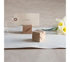 wood block place card holder $15