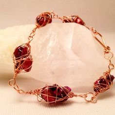 Handmade Wire Wrapped Copper Burgundy by CraftedByJulieMarie