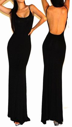Sexy Black Minimalist Backless Open Cutout Back Dress Check out Dieting Digest