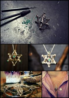 In the image below you can see the Inlaid Merkaba - a unique design created to enhance the Merkaba properties with a gemstone of your choice. The image at the bottom left was sent to us by Agata  http://www.ka-gold-jewelry.com/p-categories/merkaba.php