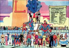 The Legion of Super-Heroes by Keith Giffen.  Just a squad of these heroes could take out the entire JLA before breakfast.
