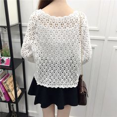 Camisas Mujer 2017 Spring Summer Crochet White Lace Blouse Women Fashion Tops Sexy Hollow Out Knitted Cardigan Chemise Femme 16 Kimono Cardigan, Crochet Cardigan, Blouses For Women, Sweaters For Women, White Lace Blouse, White Beige, Easy Knitting, Spring Summer, Fashion