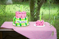 Watermelon birthday cake and smash cake, would like the top tier to have a slice cut out to look like the smash cake came from it. Baby Girl 1st Birthday, Birthday Cake Smash, Baby Girl Birthday, Summer Birthday, First Birthday Cakes, Birthday Fun, First Birthday Parties, Birthday Ideas, Watermelon Birthday Parties