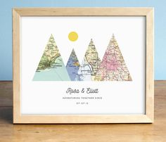 This is such a cute wedding gift for adventurous couples! --- Adventure Together Print 4 Personalized Map Mountain Print by AGierDesign --