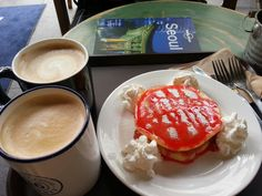 Strawberry pancake with coffee in Seoul