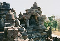 The lower levels of Borobudur are adorned with engravings that depict the teachings of Buddha and daily life in early Java; scores of giant stone Buddhas grace the upper terraces.