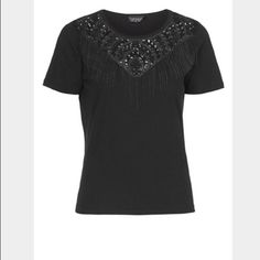 Topshop Black Chain Fringe Tee The neckline of a black jersey tee is embellished with lace embroidery and chain fringe for a playfully free-spirited look. In great condition--no missing chains or beads. Super versatile--could be worn day or night, with a skirt or jeans! Topshop Tops Tees - Short Sleeve
