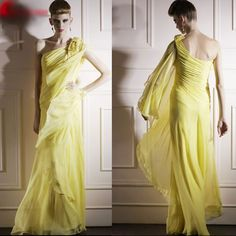 Gorgeous Women Yellow Chiffon Ruched Fitted Pageant Evening Dresses