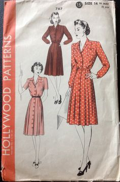 Hollywood 767 1940s  Misses Front Button Dress Pattern womens vintage sewing pattern by mbchills