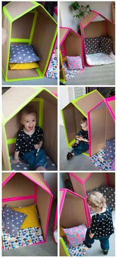Une cabane en carton simple mais qui peut faire des enfants heureux