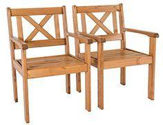 Java Exclusiv Ambientehome EVJE - Juego de 2 sillas de jardín, madera maciza, color marrón - http://vivahogar.net/oferta/java-exclusiv-ambientehome-evje-juego-de-2-sillas-de-jardin-madera-maciza-color-marron/ -