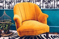Yellow chair, zebra rug, bamboo with wallpaper and vardo paint by Farrow and Ball. Design by The Other Door Mustard Chair, Yellow Armchair, Only Fools And Horses, Grand Designs, Room Set, Wingback Chair, Accent Chairs, Bamboo, Middle