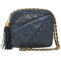 b68255480a31 Chanel Navy Matelasse Tassel Lambskin GHW Shoulder Bag w  Dust Bag