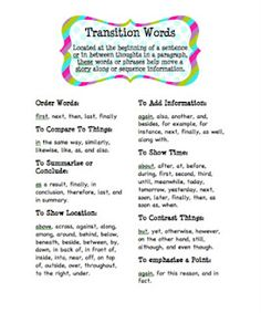 Transitions in Essays?