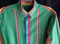 Vintage Ralph Lauren shirt green pink yellow by vintagewayoflife