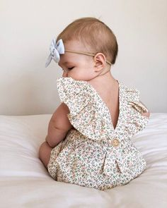 Baby Girl Floral Romper- Cream Floral Romper Toddler Birthday Romper Baby - Baby Girl Romper - Ideas of Baby Girl Romper So Cute Baby, Cute Newborn Baby Girl, Baby Girl Romper, Baby Girl Gifts, Cute Baby Clothes, Baby Love, Baby Baby, Cute Baby Outfits, Handmade Baby Clothes