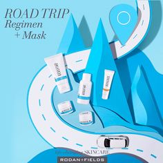 """Tell fine lines to hit the road -- R F is riding shotgun! Our travel-sized Regimens are perfect for your next roadtrip. Plus, our Mini Mask Set can help battle any visible signs of travel-induced stressors. Rodan And Fields Regimen, Redefine Regimen, Skin Care Regimen, Travel Checklist, Travel Essentials, Travel Packing, Love Your Skin, Good Skin, Pore Minimizing Toner"