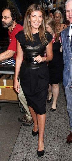 Nina Garcia | Leather corset over black dress