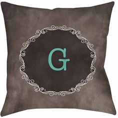 Thumbprintz Chalkboard Scroll Monogram Turquoise Decorative Pillows, Blue