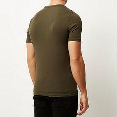 Khaki muscle fit grandad t-shirt - t-shirts / vests - sale - men