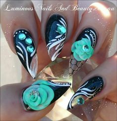 Luminous Nails: Black & Clear Nails with Aqua Flowers. Sexy Nails, Hot Nails, Fancy Nails, Stiletto Nails, Hair And Nails, Black Nails, Fabulous Nails, Gorgeous Nails, Pretty Nails