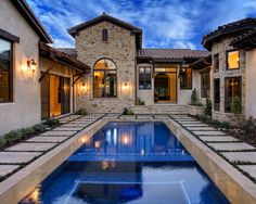 ROOF SPANISH TILE Design, Pictures, Remodel, Decor and Ideas - page 11 Tuscan Courtyard, Spanish Courtyard, Courtyard Pool, Pool Backyard, Courtyard Design, Roof Design, Tile Design, Outdoor Pool, Modern Mediterranean Homes