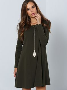 Fabric :Fabric is very stretchy Season :Fall Type :Dress Pattern Type :Plain Sleeve Length :Long Sleeve Color :Green Style :Basic Material :Jersey Neckline :Round Neck Silhouette :Shift Shoulder(cm) :