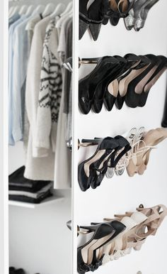 use rods! DIY ikea shoe rack // walk-in-closet. Home organization and design solutions blog