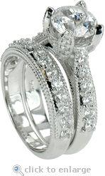 Cubic Zirconia CZ Wedding Set 2 Carat Round & Pave In 14K White Gold.  The Ziamond Davina Wedding Set features 4 carats in total carat weight.  $2395 #ziamond #cubiczirconia #cz #weddingset #ring #bridalset #solitaire #matchingset #diamond #jewelry