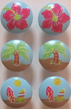 Girls Surf Drawer Knobs #matildajaneclothing #MJCdreamcloset Girls Surf Room, Girl Room, Girls Bedroom, Bedrooms, Ocean Bedroom, Mermaid Bedroom, Drawer Knobs, Cabinet Knobs, Painted Drawers