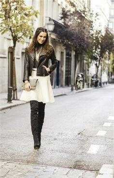 falda blanca y botas otk (look día)
