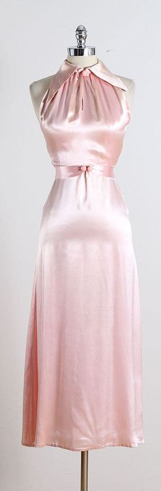 ➳ vintage 1930s dress and jacket  * soft pink silk satin * side closure * open double T back (photos available upon request) * matching original belt with hook/eye closure * button front jacket  condition | excellent - a few tiny snags/flaws in back of jacket near waist and a few tiny faint spots on skirt near hem. fits like xs  length 53 bodice 15.5 bust 32-34 waist 24-25 hips up to 36 belt 24 jacket length 19 jacket bust 34 jacket sleeves 22  ➳ shop http://www.etsy.com&...