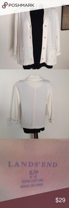 Petite LANDS END JACKET Button down fleece with jacket cute front pockets Lands' End Jackets & Coats