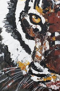 """ABOUT THE WORK: This is a one of a kind item! TITLE OF PIECE: """"Close Up Tiger"""" SIZE: 4 x 6 inches (small original painting) MATERIALS: Acrylic"""