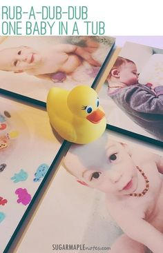 Rub A Dub Dub One Baby In A Tub. Water resistant photo boards for the bathroom decor? YES, please! #bathtime