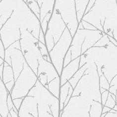 Graham & Brown Evita Water Silk Sprig Light Silver Wallpaper Sample 10475594 - The Home Depot