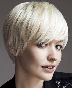 A medium blonde straight coloured white choppy bob Womens haircut hairstyle by Jean Louis David