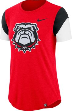 Nike Women's Georgia Bulldogs Red Tri-Blend Fan Crew T-Shirt, Team Georgia Shirt, Georgia Girls, Old Hollywood Style, College T Shirts, Georgia Bulldogs, Fan, Falcons, Washington State, Outfits