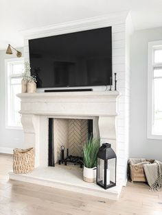 Fireplace Hearth Decor, Tv Over Fireplace, Classic Fireplace, Limestone Fireplace, Fireplace Design, Fireplaces With Tv Above, Stone Mantel, Fireplace Remodel, Modern Farmhouse Design