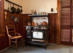The restored 1915 stove cooks just as well as a new one. It looks more original in this setting than today's reproductions.