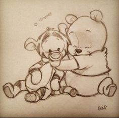 winnie the pooh :) zeichnungen, zeichnung, disney - KUNST Cute Drawings, Drawing Sketches, Drawing Ideas, Drawings About Love, Simple Cartoon Drawings, Disney Cartoon Drawings, Disney Pencil Drawings, Easy Disney Drawings, Cool Sketches