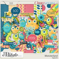 Not all monsters are meant to be scary! Some are whimsical and just plain cute!! Monsterland by JB Studio Designs is the perfect kit to scrap about all your own little monsters. It's perfect for Halloween or just about any day! http://store.gingerscraps.net/Monsterland-by-JB-Studio.html