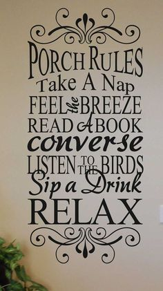 Porch rules take a nap feel the breeze read a book converse listen to the birds KW880 custom vinyl lettering sticker home decor wall words
