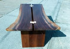 Walnut Bookmatched Live Edge Slab Coffee Table