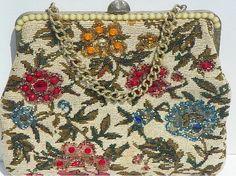 Beaded and Rhinestone Tapestry Purse Handbag Mid by Chaseyblue, $40.00