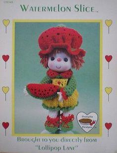 Dumplin Designs Lollipop Lane Watermelon Slice Crochet Doll Pattern