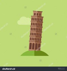 Vector Icon Of The Tower Of Pisa In Flat Design - 329016353 : Shutterstock